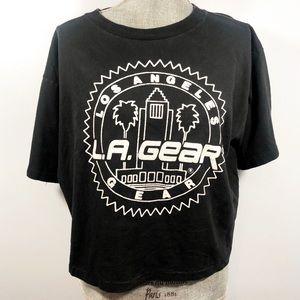 L.A. Gear Vintage Black Crop Top Shirt OSFA OS